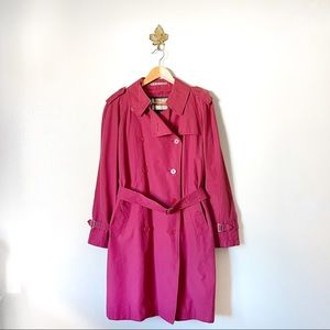 Burberry London Red Belted Trench Coat Large